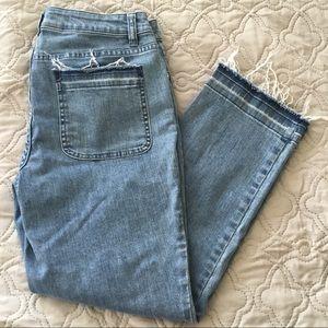 Michael Kors Raw Hem/Pocket Ankle Crop Jeans